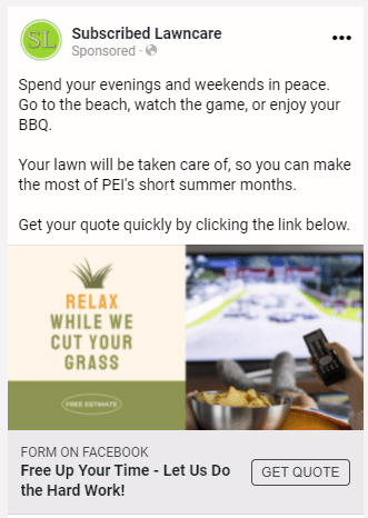 Subscribed Lawn Care Appeal-based Ad 2.0