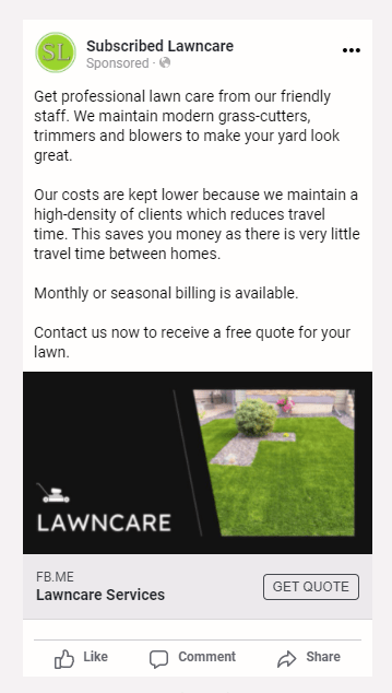 Subscribed Lawn Care Direct Ad 1.0